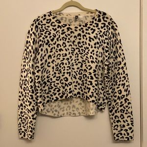 Cropped white leopard sweater